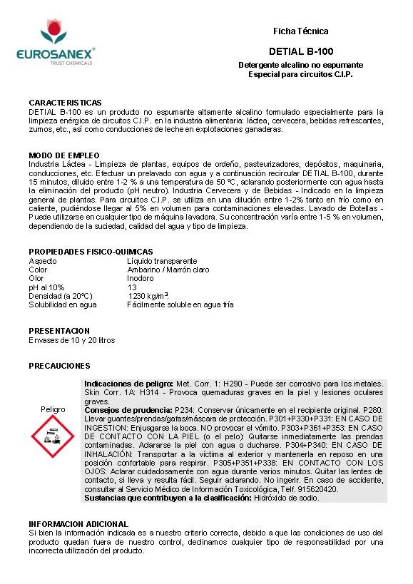 Ficha Técnica Detial B-100